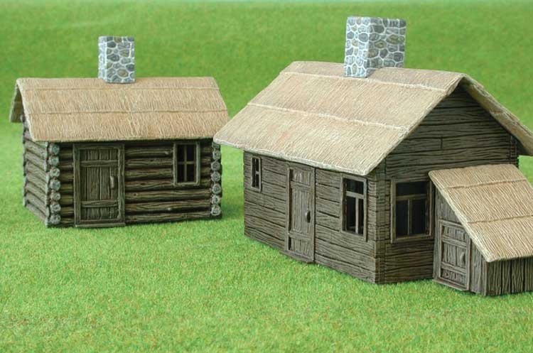 2 COTTAGE BOIS PEINTS 1/144